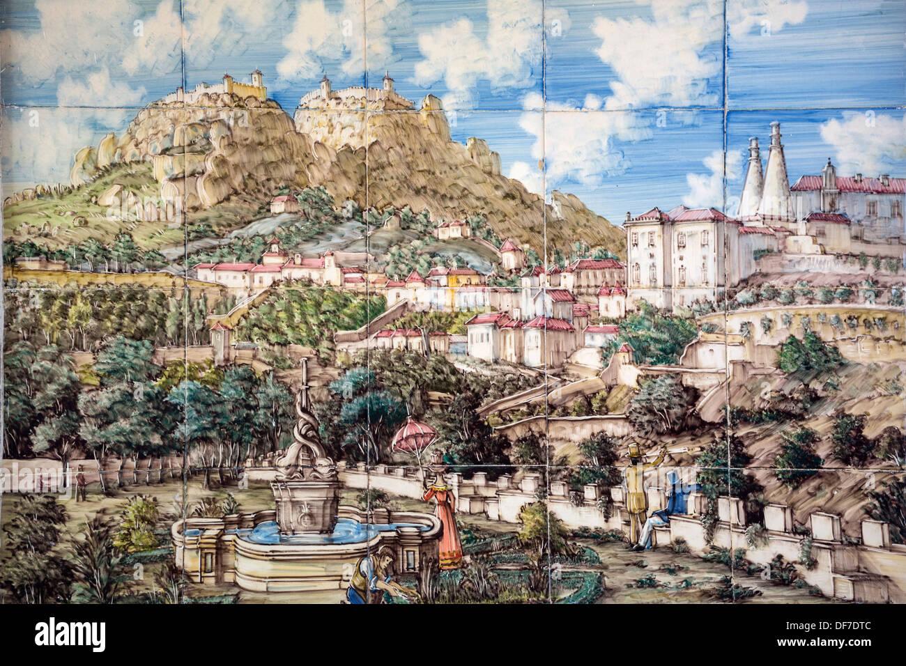 Azulejos tile image of the castelo dos mouros castle of for Azulejos df