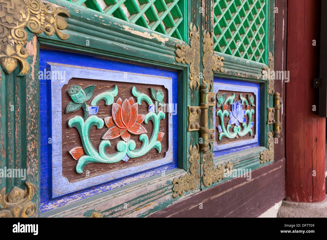 Adorned doors of a sanctuary in Buddhist Temple Nojeoksa Seoul Korea & Adorned doors of a sanctuary in Buddhist Temple Nojeoksa Seoul ...