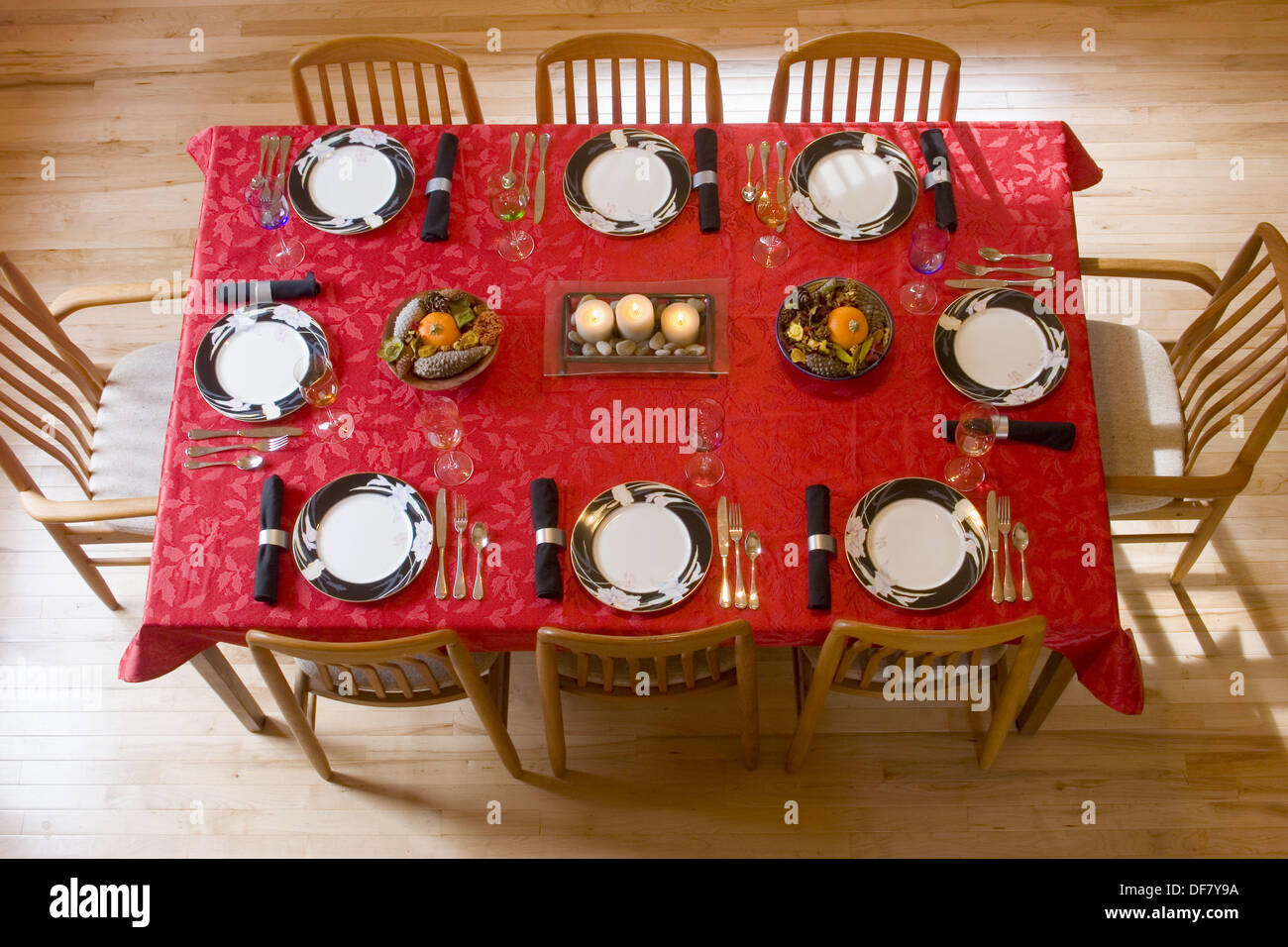 Tablecloth For Dining Room Table Aerial View Of A Dining Room Table Set For Thanksgiving Dinner