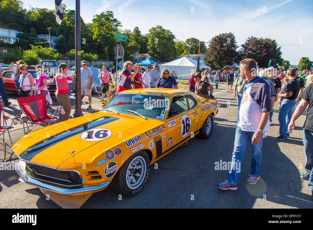 Vintage Race Cars Parked In Downtown Watkins Glen During The