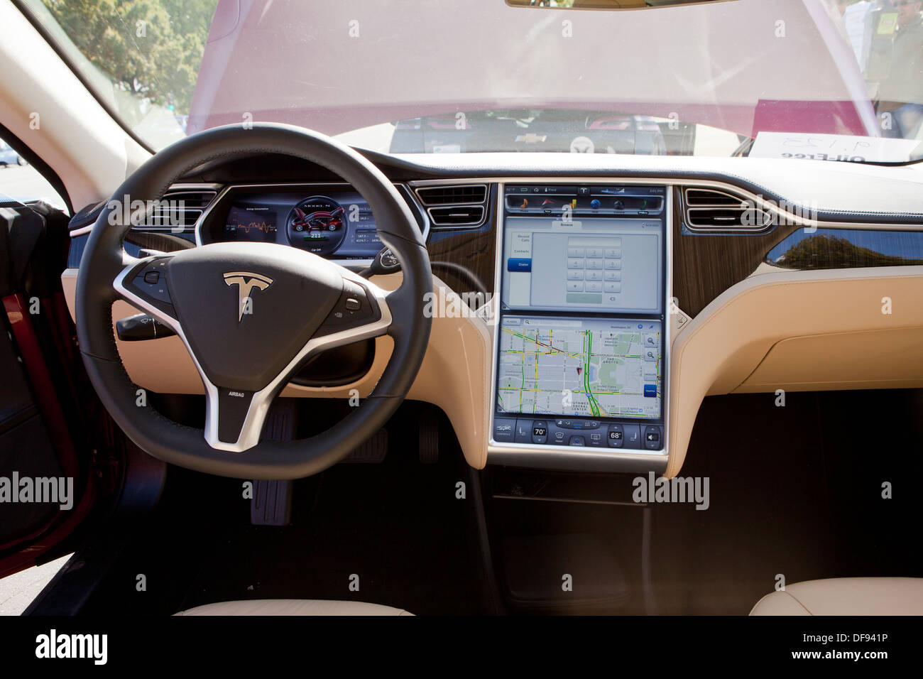 tesla model s electric car interior stock photo royalty free image 61051698 alamy. Black Bedroom Furniture Sets. Home Design Ideas
