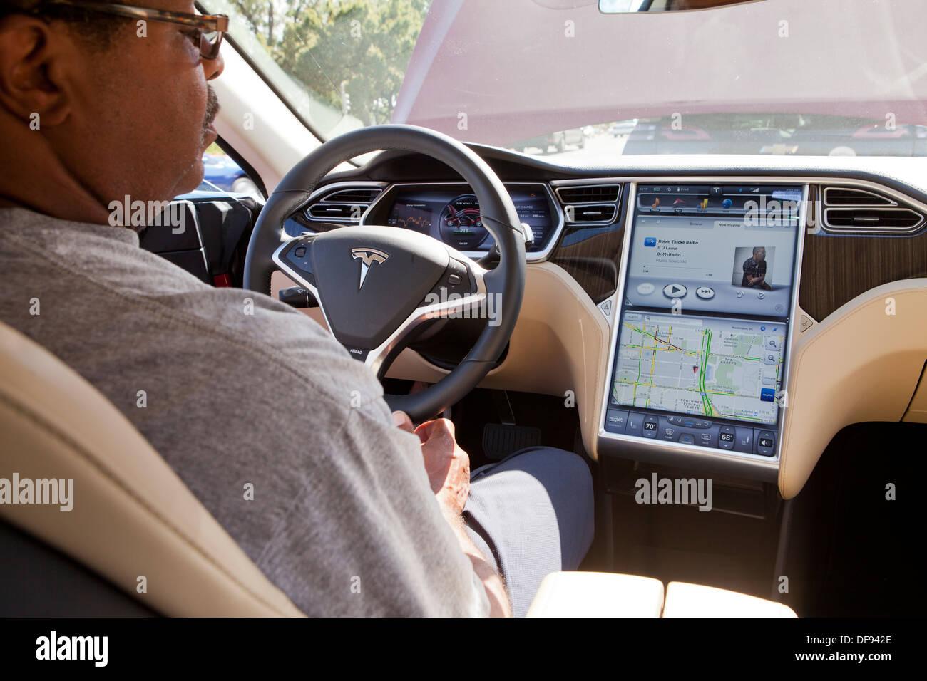 tesla model s electric car interior stock photo 61051718 alamy. Black Bedroom Furniture Sets. Home Design Ideas