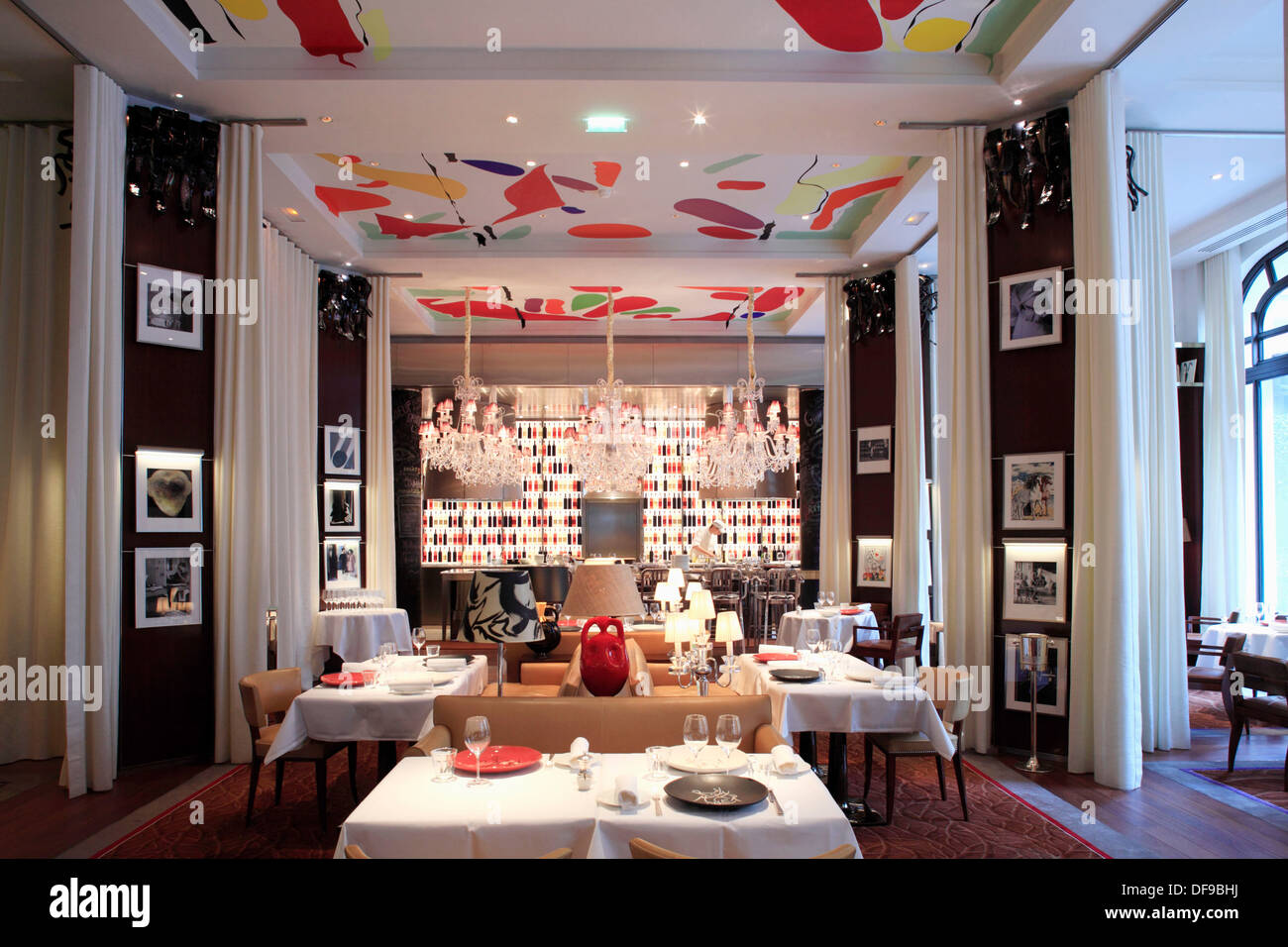 The restaurant la cuisine designed by philippe starck in hotel le stock photo royalty free - La cuisine hotel royal monceau ...