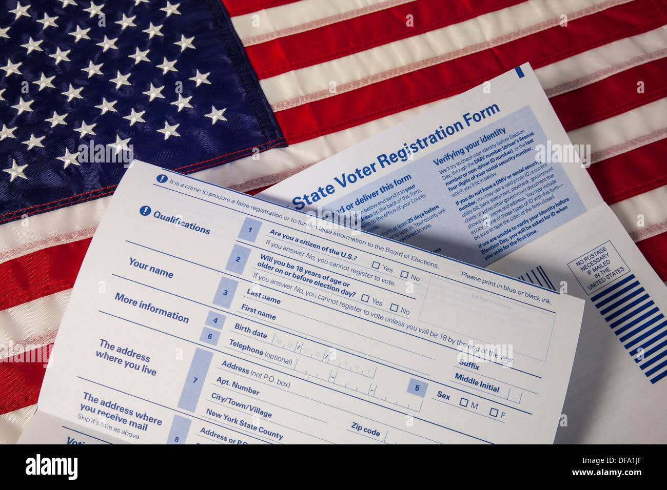 Still life close up state voter registration forms us flag still life close up state voter registration forms us flag usa sciox Choice Image