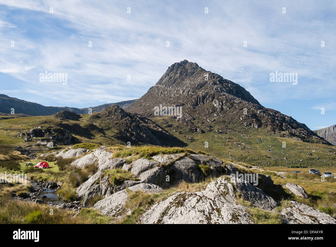 Tent c&ed by a stream on Willieu0027s Farm c&site below Mount Tryfan in Snowdonia National Park Ogwen Valley North Wales UK & Tent camped by a stream on Willieu0027s Farm campsite below Mount ...