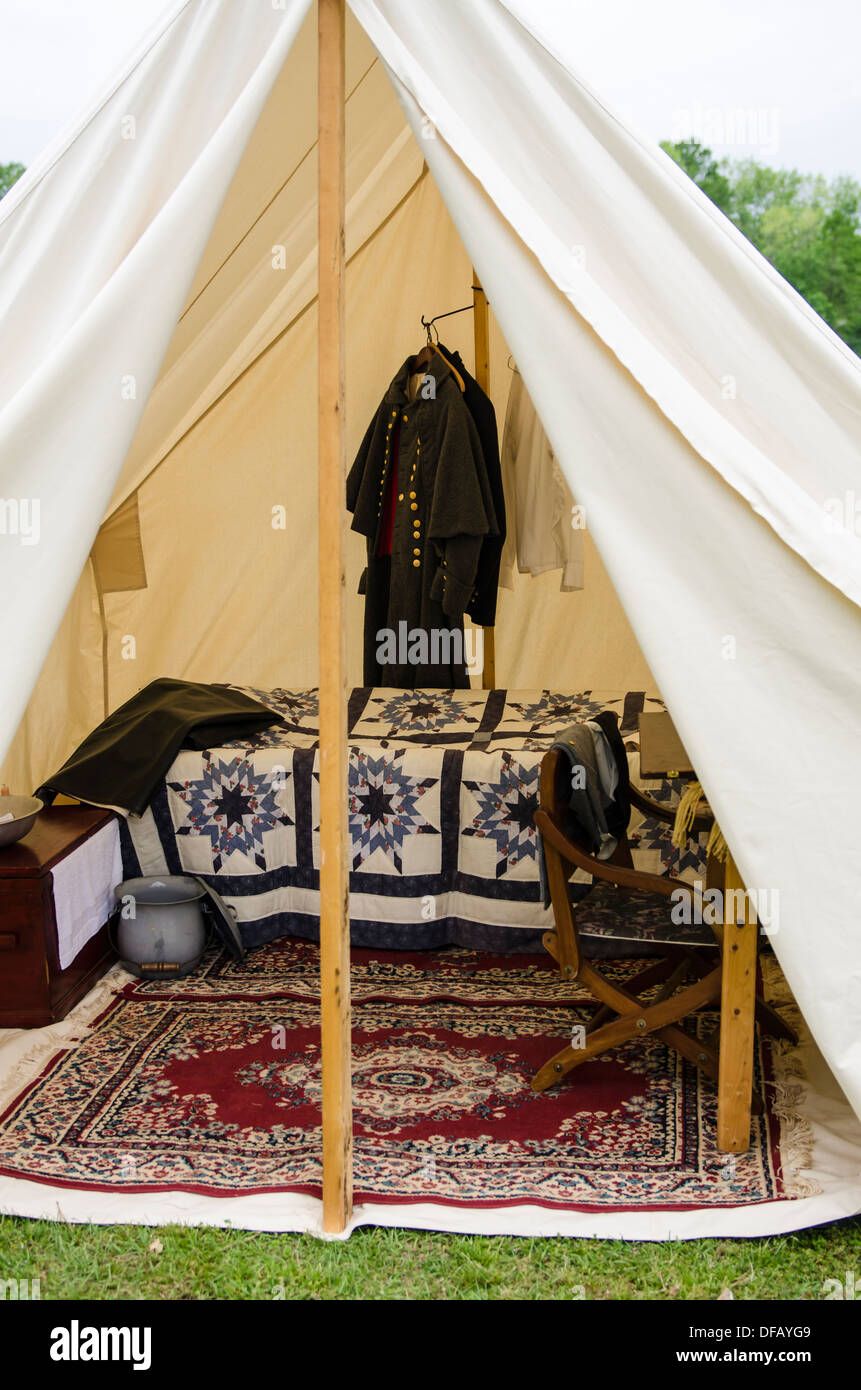 Confederate officeru0027s tent enc&ment at Thunder on the Roanoke American Civil War reenactment in Plymouth North Carolina USA & Confederate officeru0027s tent encampment at Thunder on the Roanoke ...