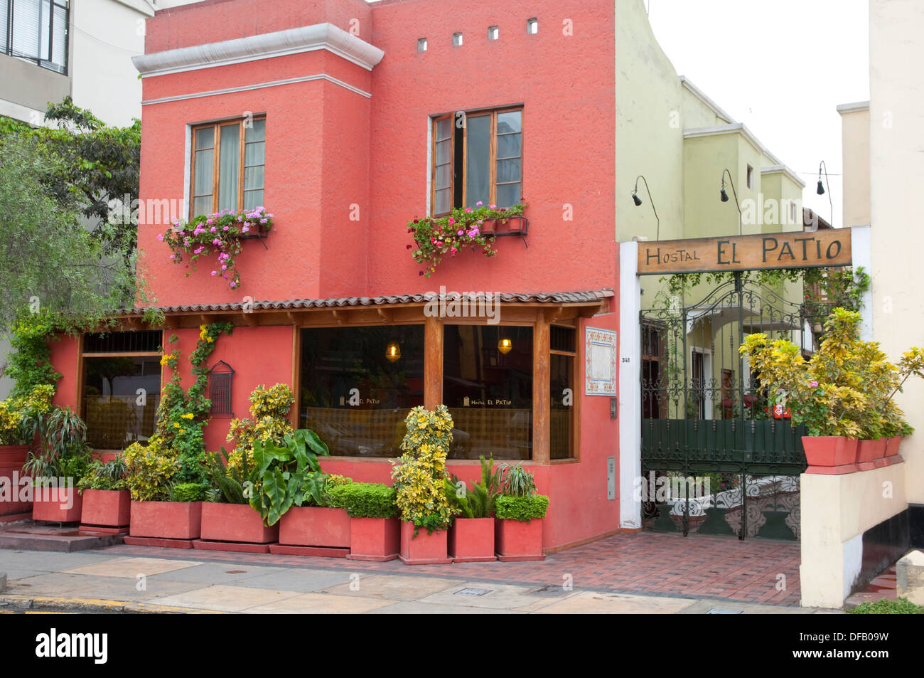Stock Photo   The Exterior Of The El Patio Hostal In Miraflores, Lima,  Peru, South America