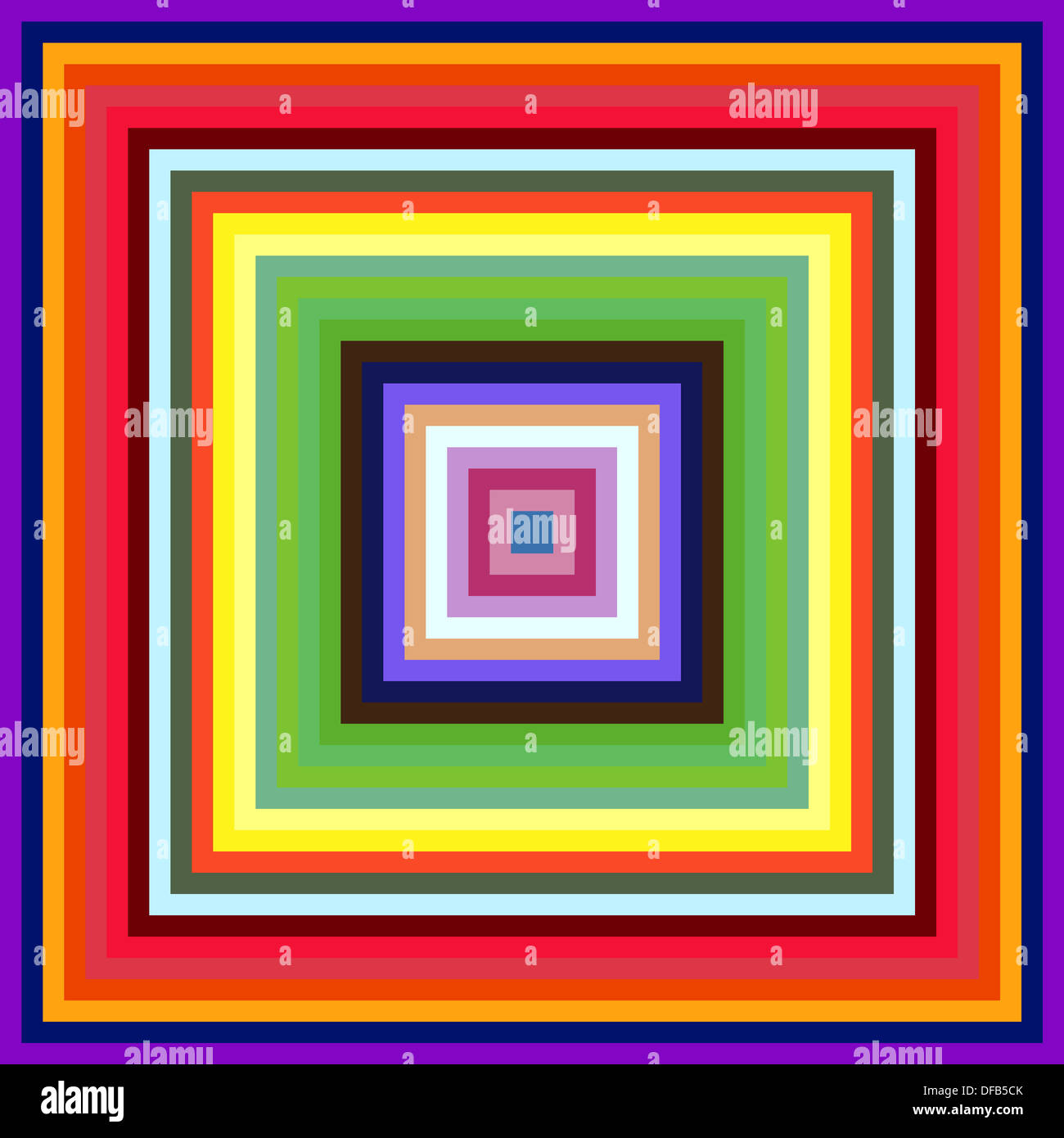 decreasing size colourful square frames abstract background