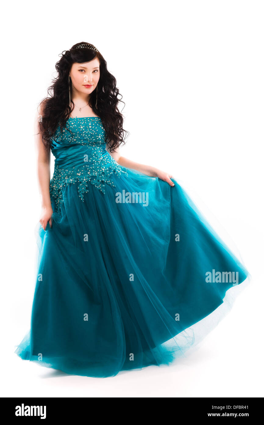 Beautiful girl wearing a prom dress, vertical format Stock Photo ...