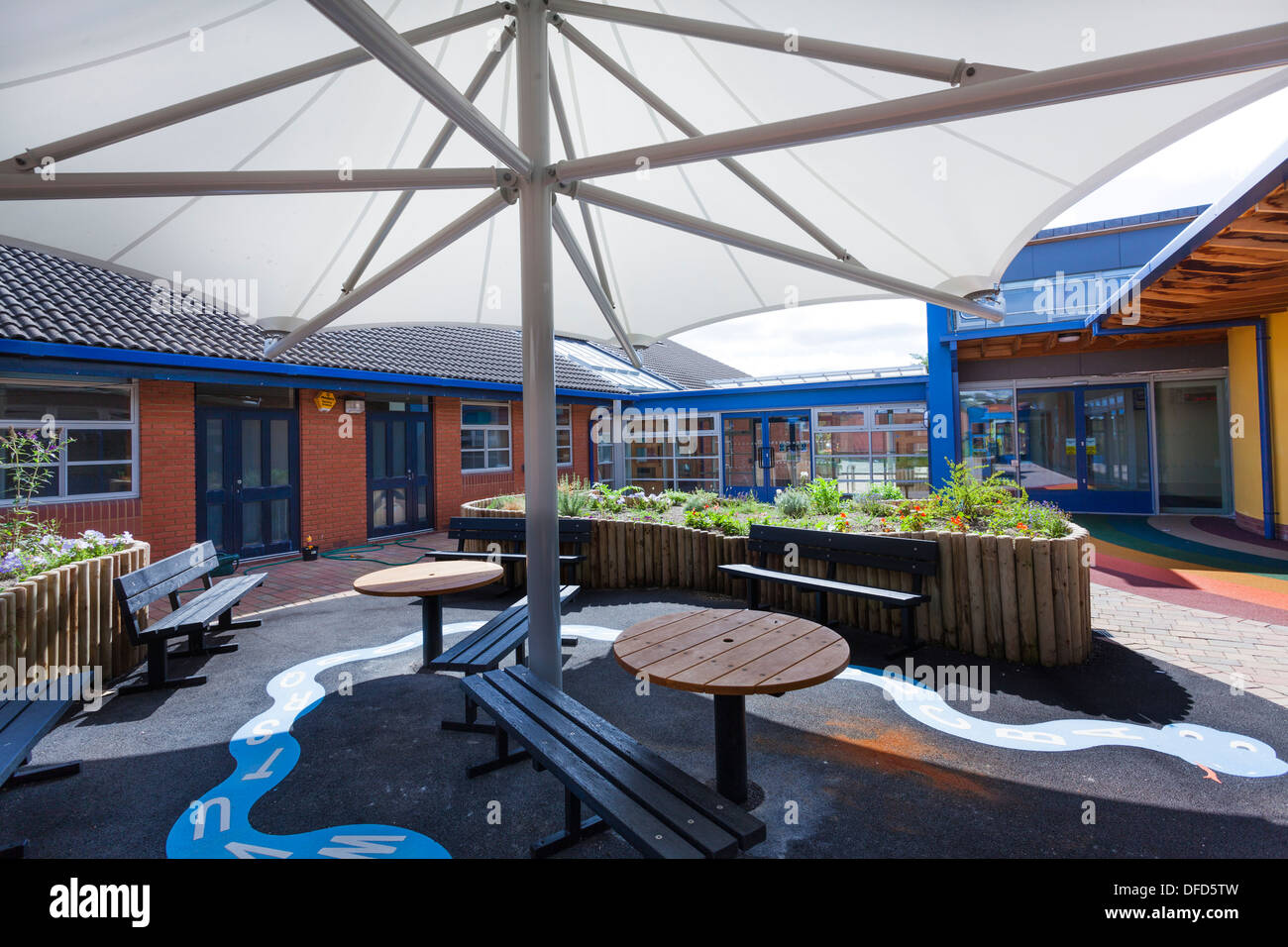 large umbrella style canopy to seats in school garden play area & large umbrella style canopy to seats in school garden play area ...