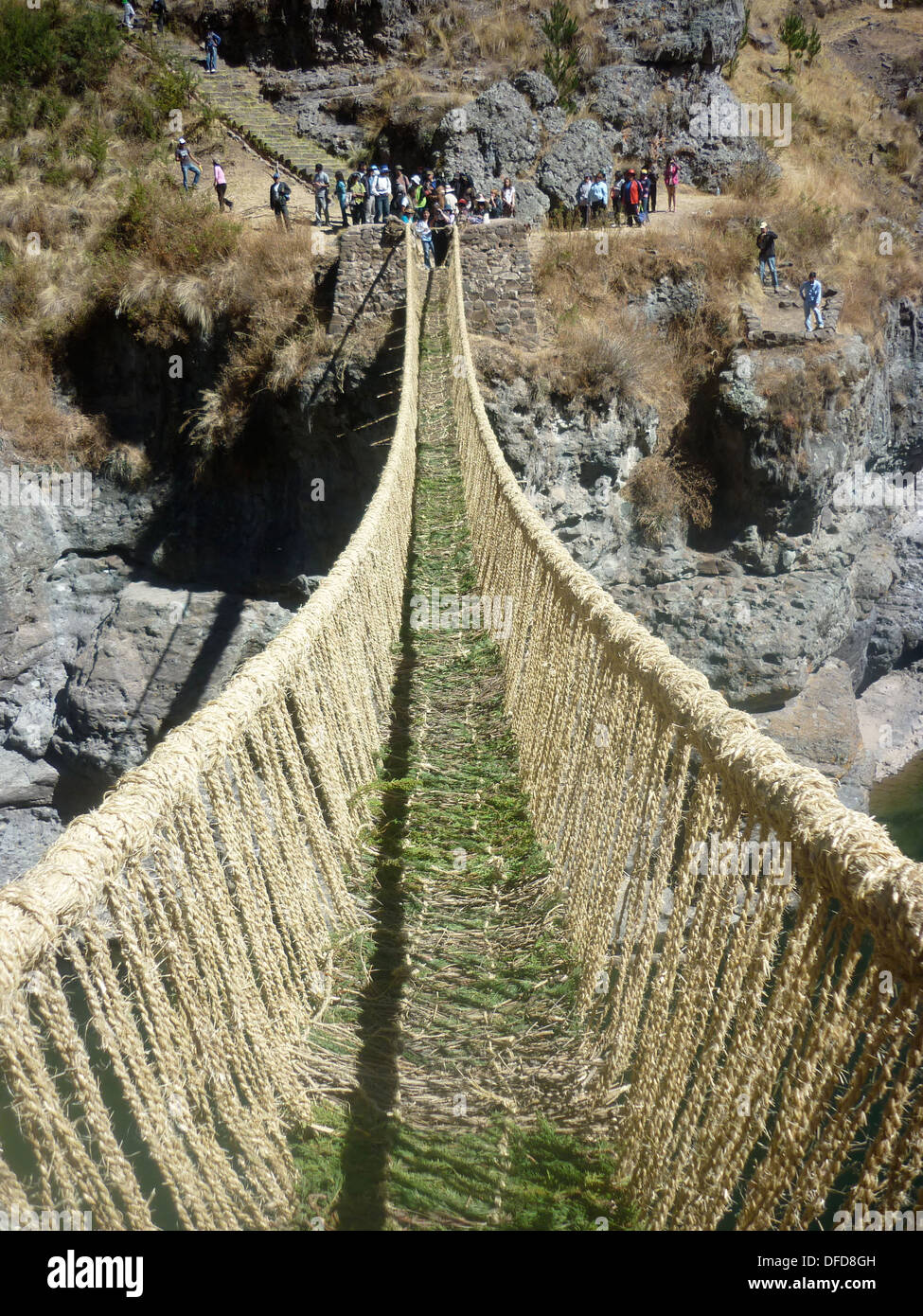 Q'eswachaca bridge made of grass, hanging over the Apurimac river, Quehue,  Cusco, Peru