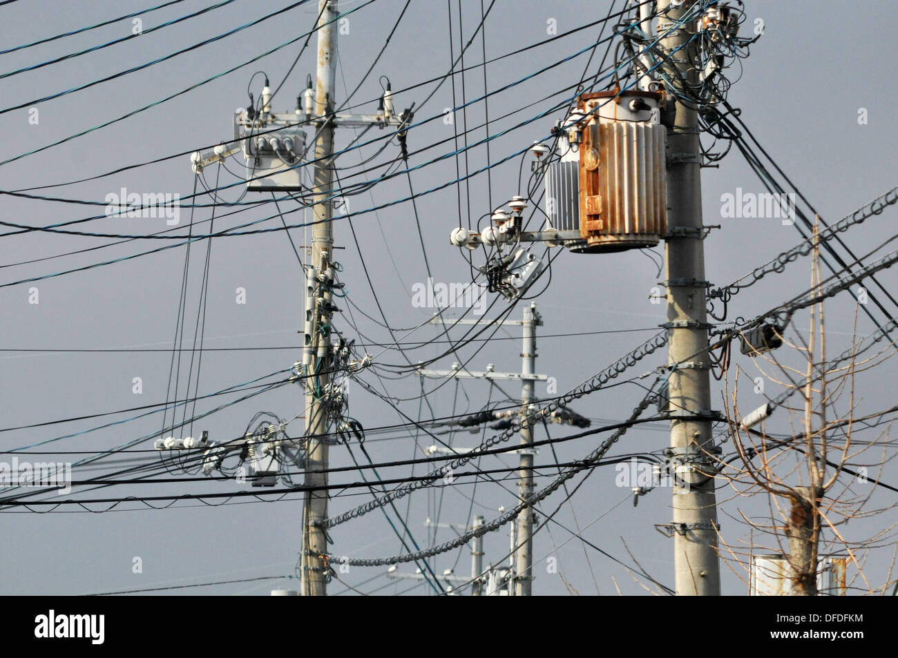 Kyoto (Japan): electric wires mess in the city centre Stock Photo ...