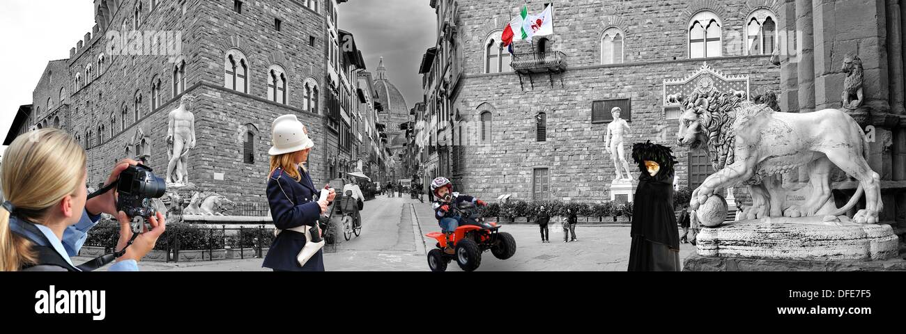 Photomontage Black And White With Accents Of Color Based In The - Black and white photography with color accents