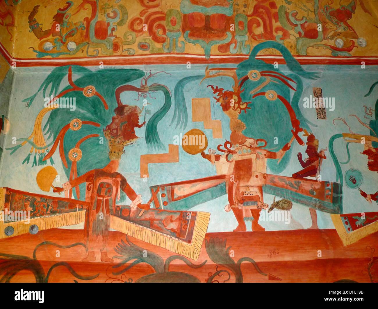 Bonampak frescoes museo nacional de antropologia ciudad for Bonampak mural painting