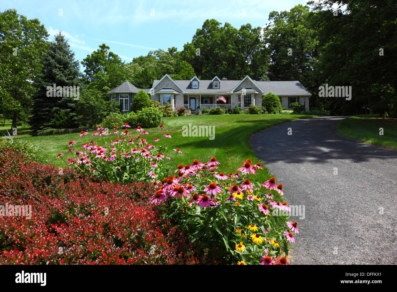 Summer Flowers In Front Garden Of Bungalow Smart Residential Suburb Gettysburg Pennsylvania United States America