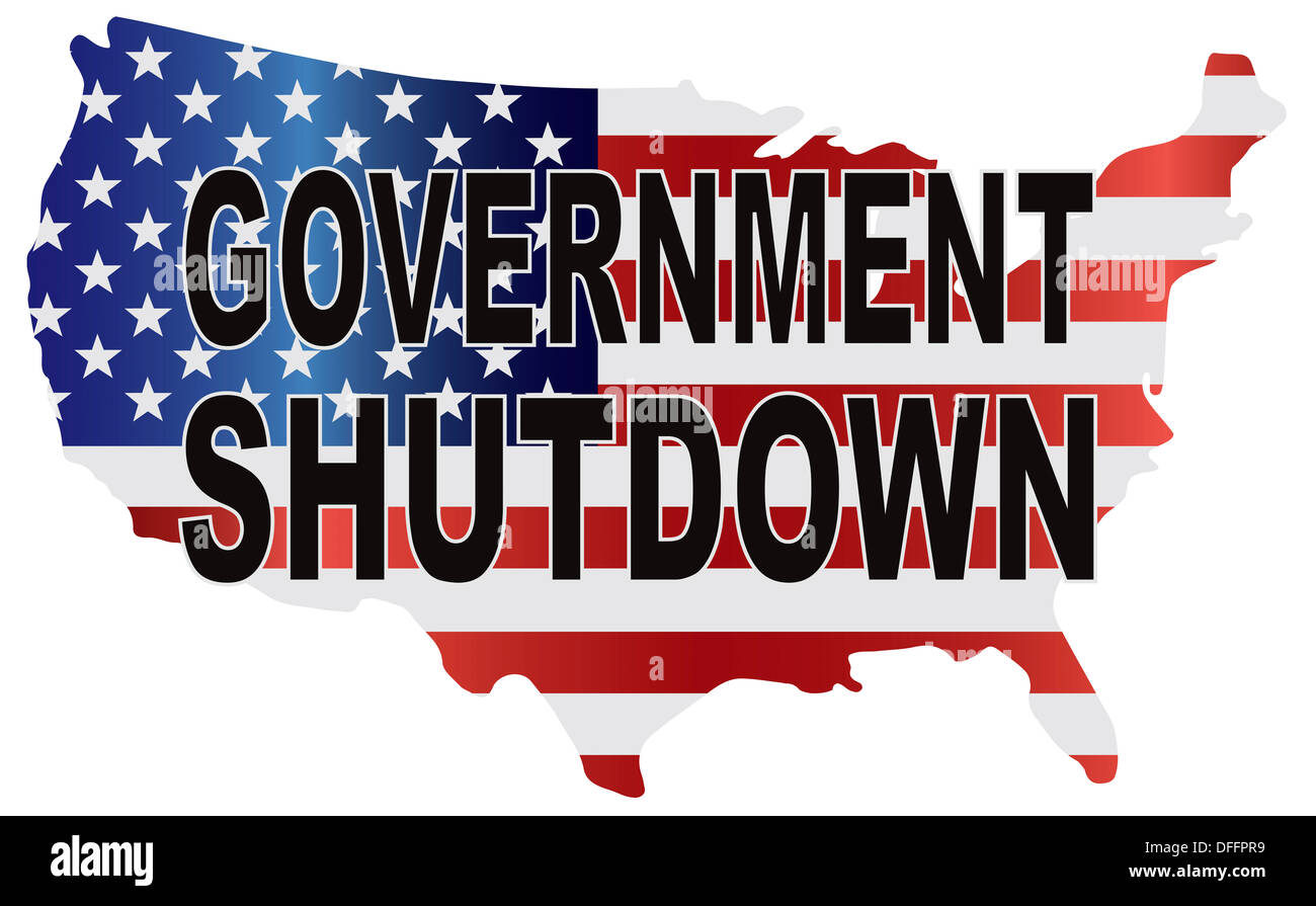 Government Shutdown Text Outline With American USA Flag In Country - Usa country map outline