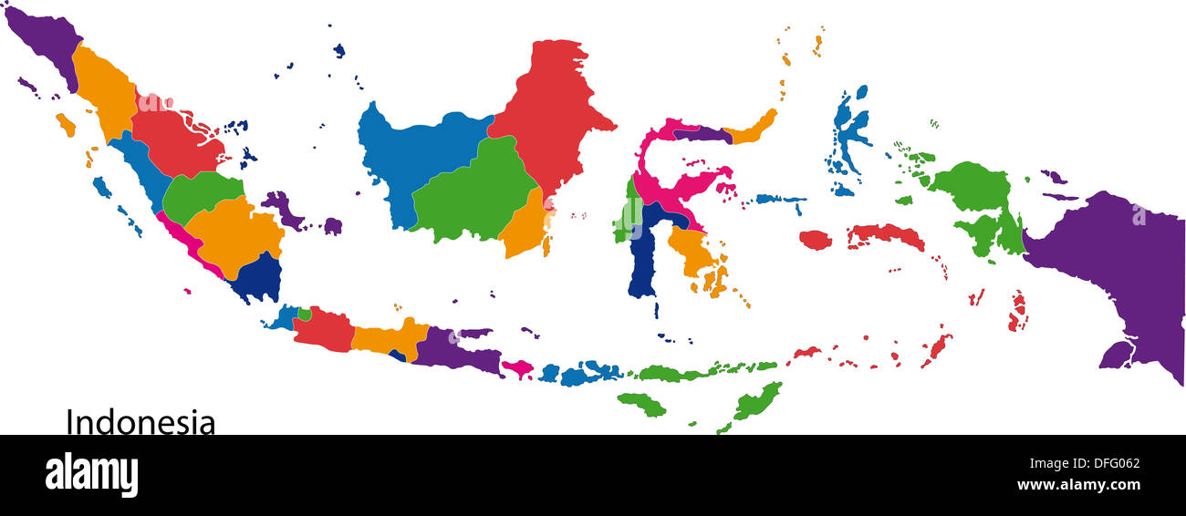 Colorful Indonesia Map Stock Photo Royalty Free Image - Indonesia map