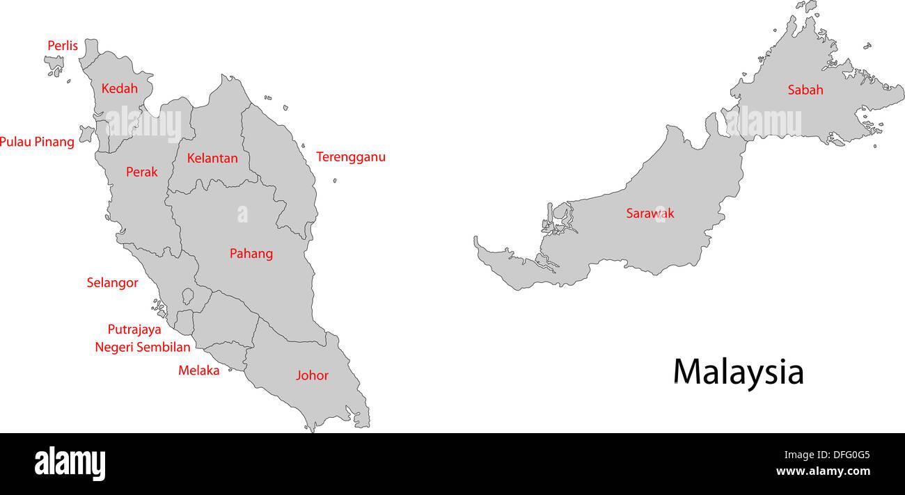 Grey Malaysia map Stock Photo: 61202629