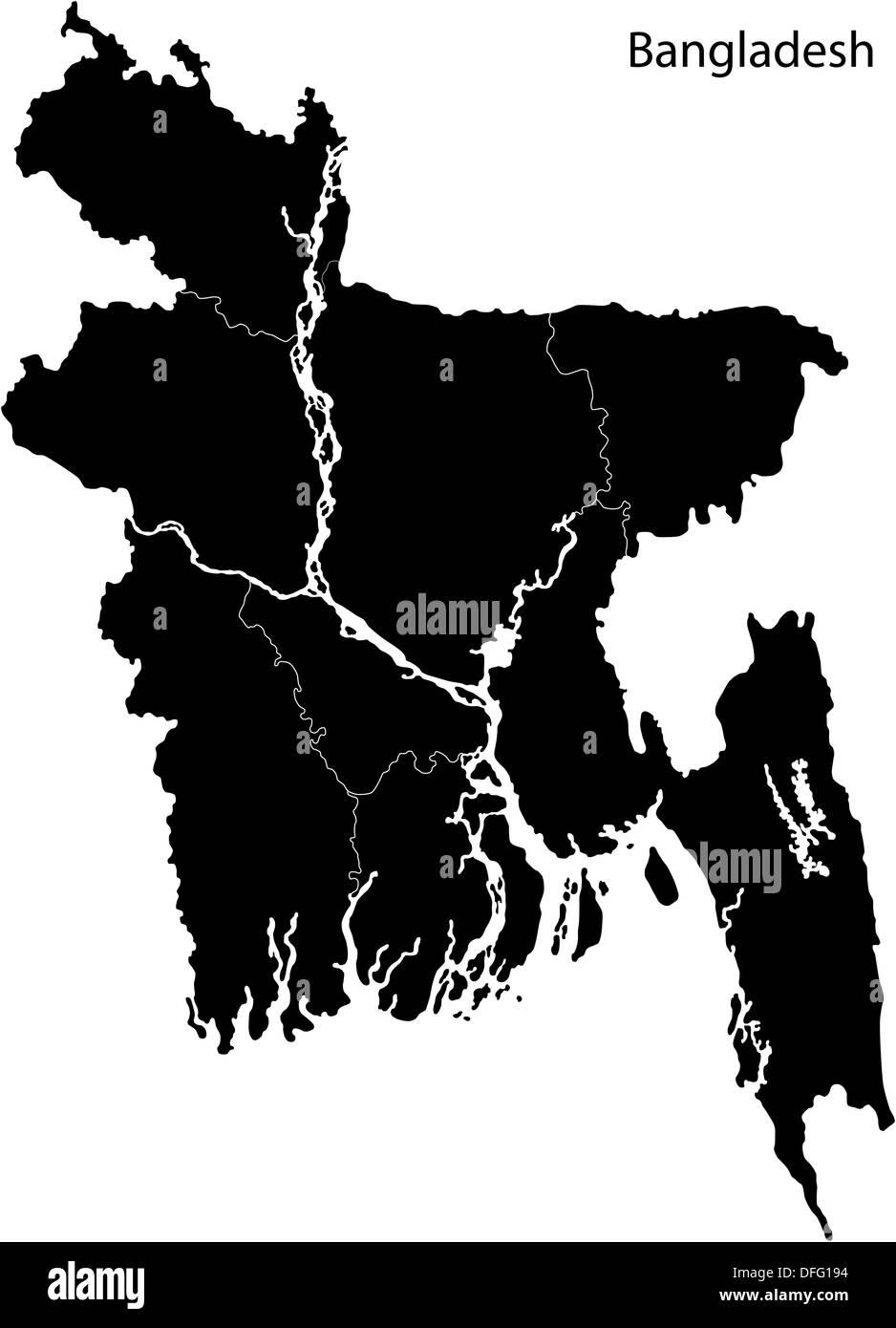 Black Bangladesh Map Stock Photo Royalty Free Image Alamy - Bangladesh map