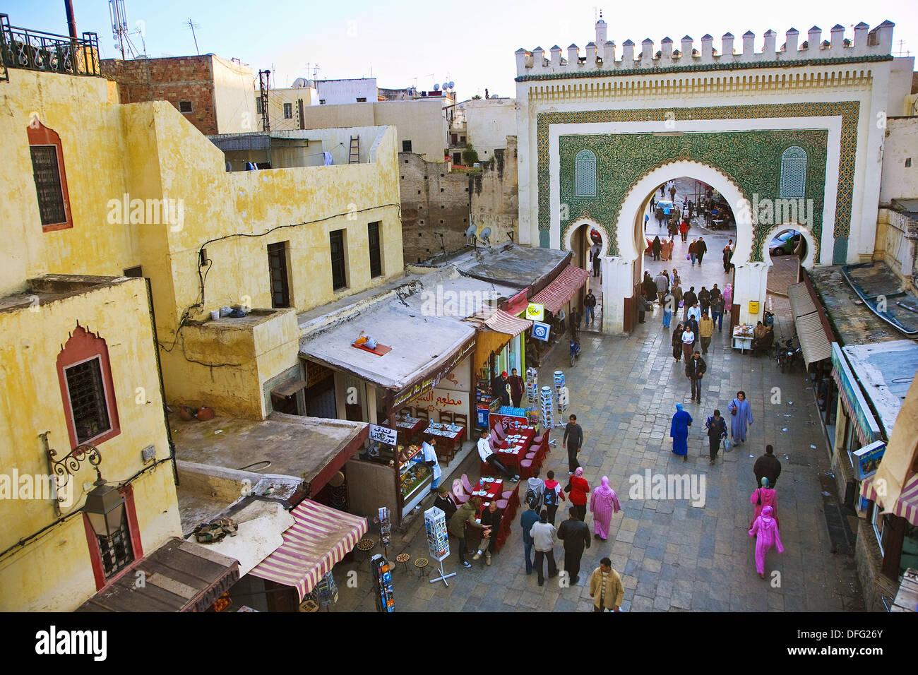 bab bou jeloud gate main entrance to fes medina fes el bali fes morocco