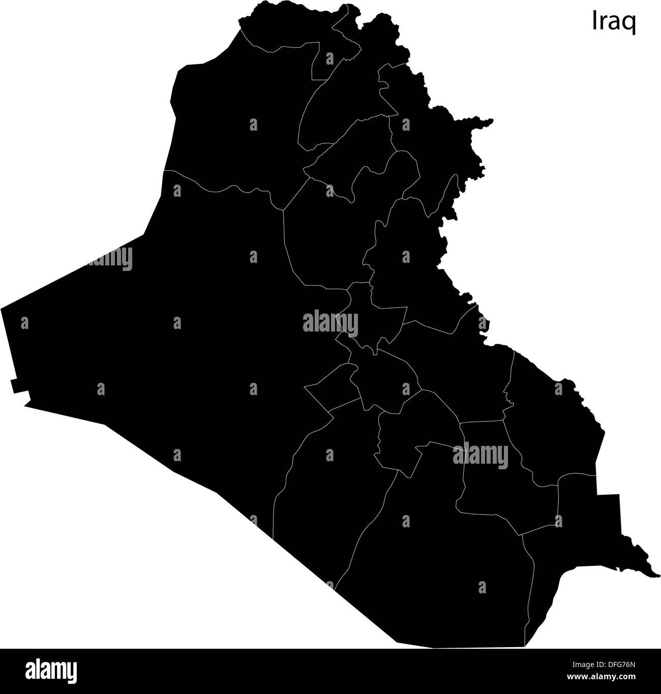 Black Iraq Map Stock Photo Royalty Free Image Alamy - Iraq map outline