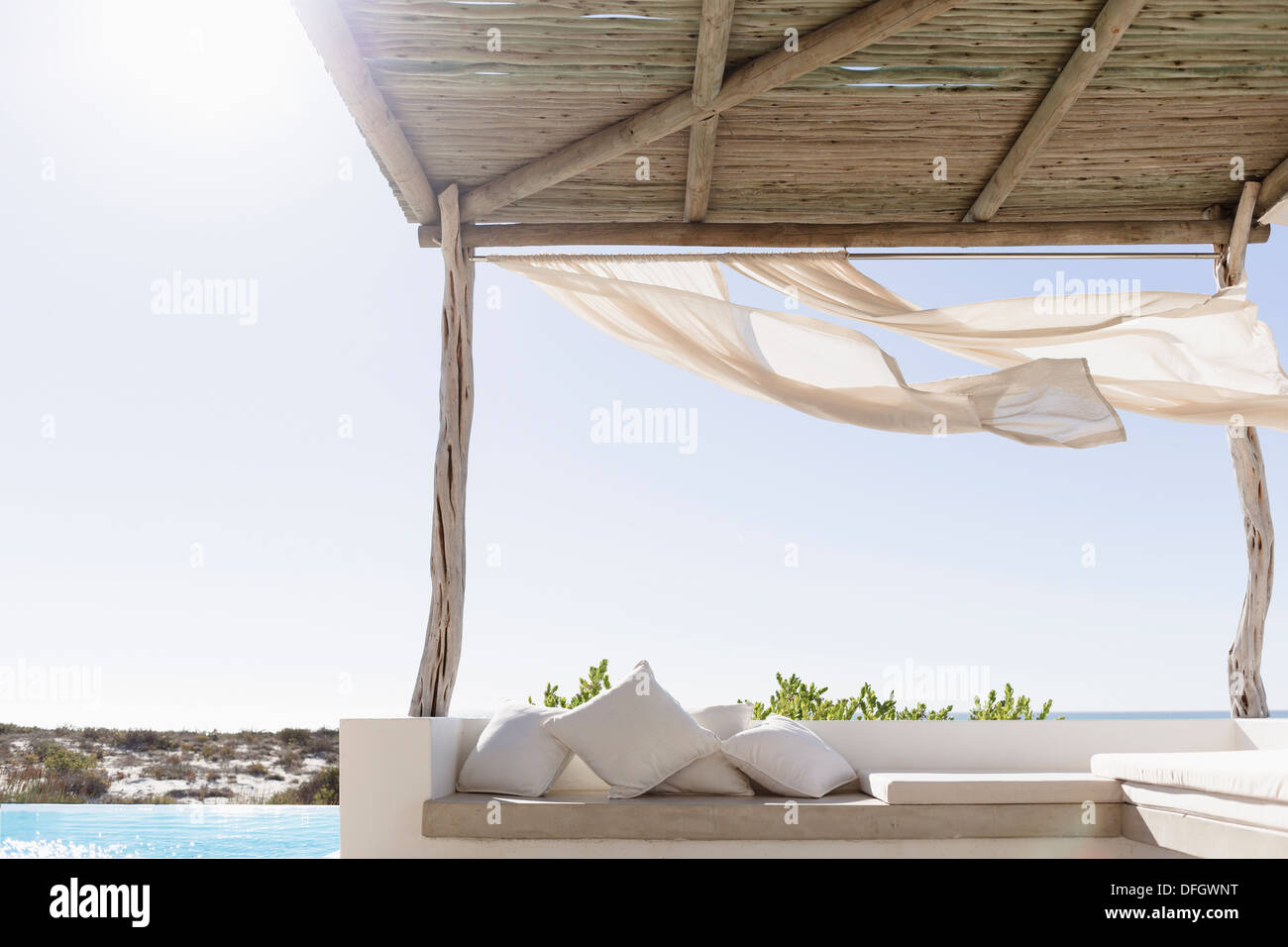 Curtains blowing in wind on modern patio - Stock Image : wind curtain for canopy - memphite.com