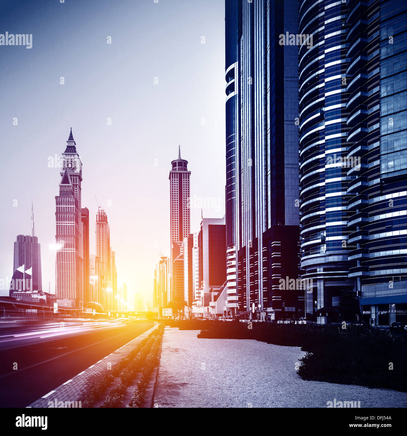 Dubai city downtown UAE bright sun light evening arabic Stock