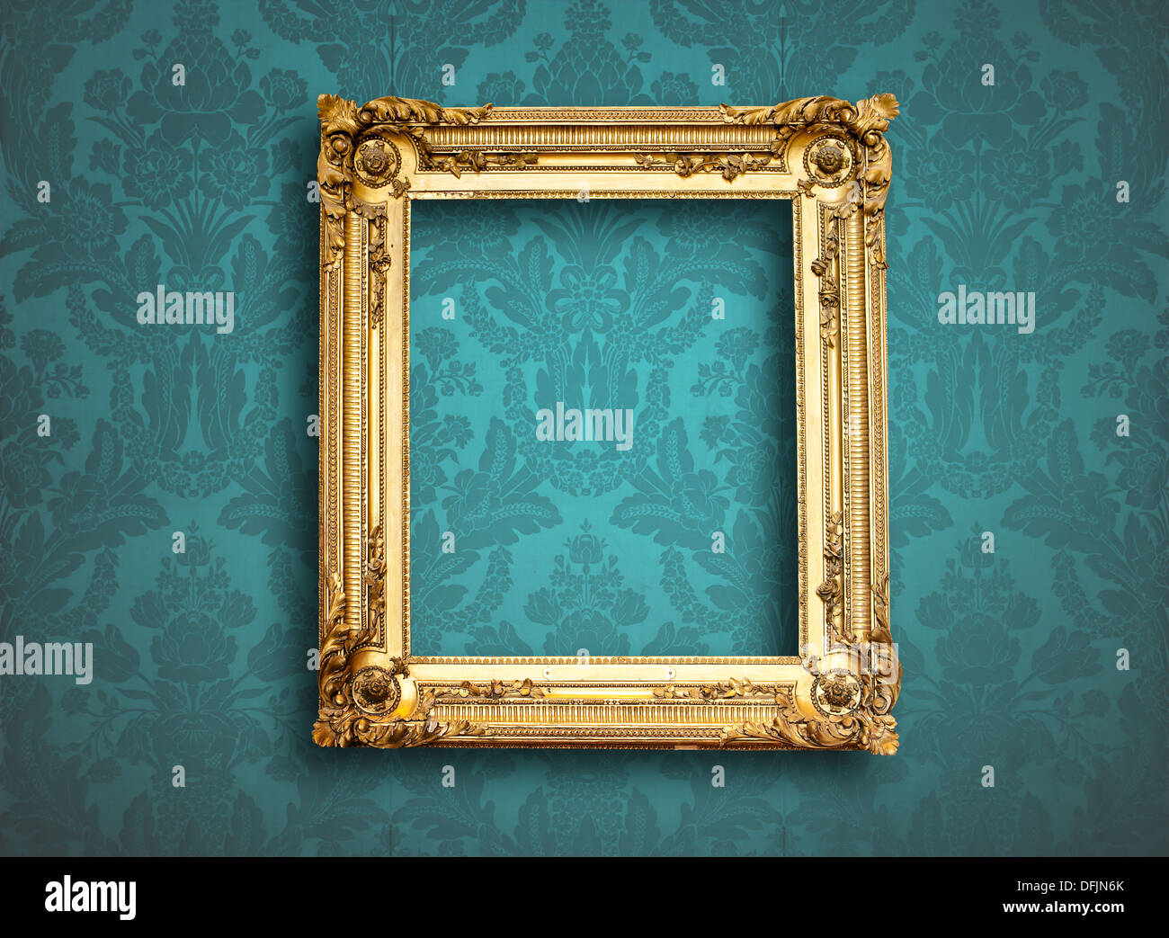 picture empty frame on blue vintage wallpaper Stock Photo ...