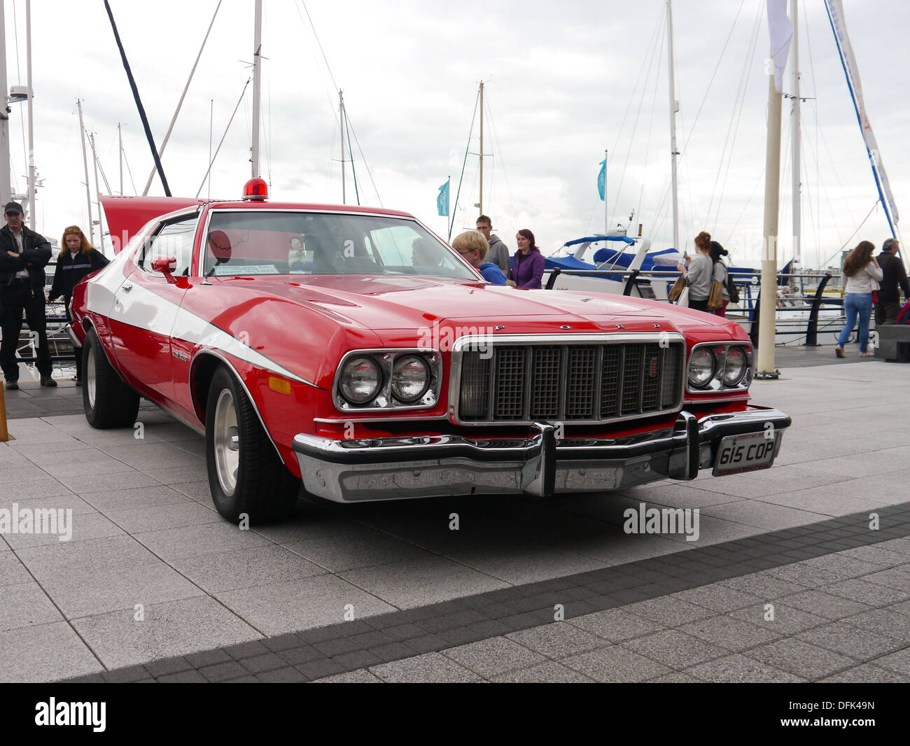 A ford gran torino in a replica starsky and hutch paint scheme from the 1970 s tv
