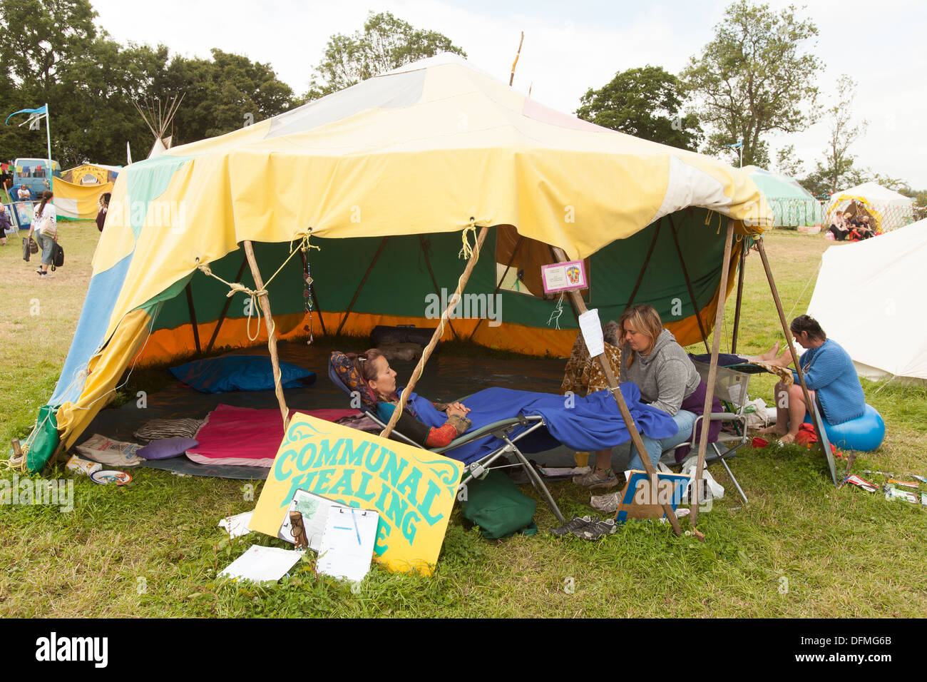 Communal healing tent Glastonbury Festival 2013 Somerest England United Kingdom & Communal healing tent Glastonbury Festival 2013 Somerest England ...