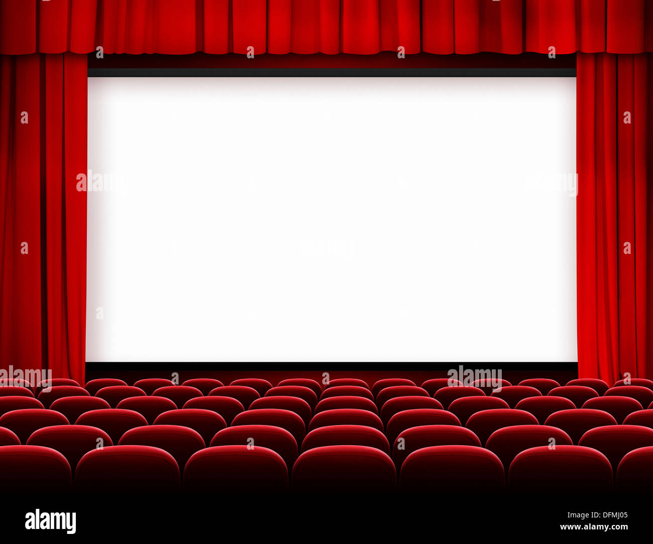 Cinema Screen With Red Curtains And Seats Stock Photo