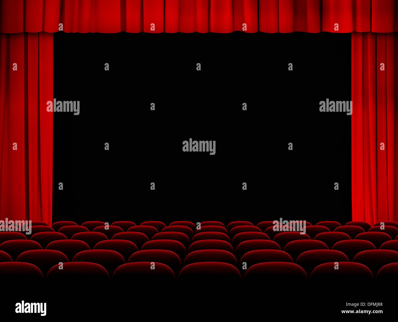 Stock photo dramatic red old fashioned elegant theater stage stock - Stock Photo Theater Red Auditorium With Stage Curtains And Seats