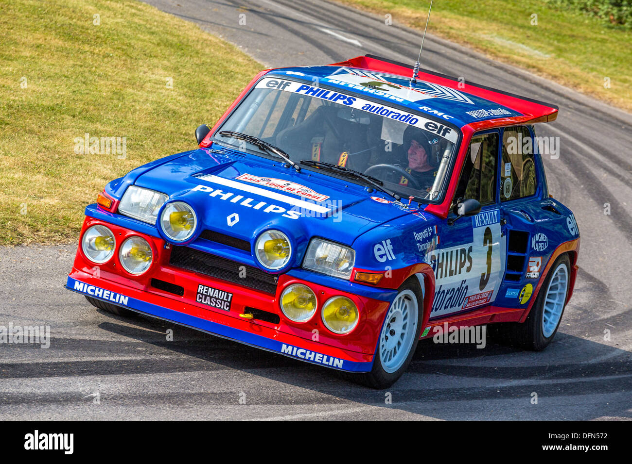 1985 renault 5 maxi turbo with driver jean ragnotti at the 2013 stock photo royalty free image. Black Bedroom Furniture Sets. Home Design Ideas
