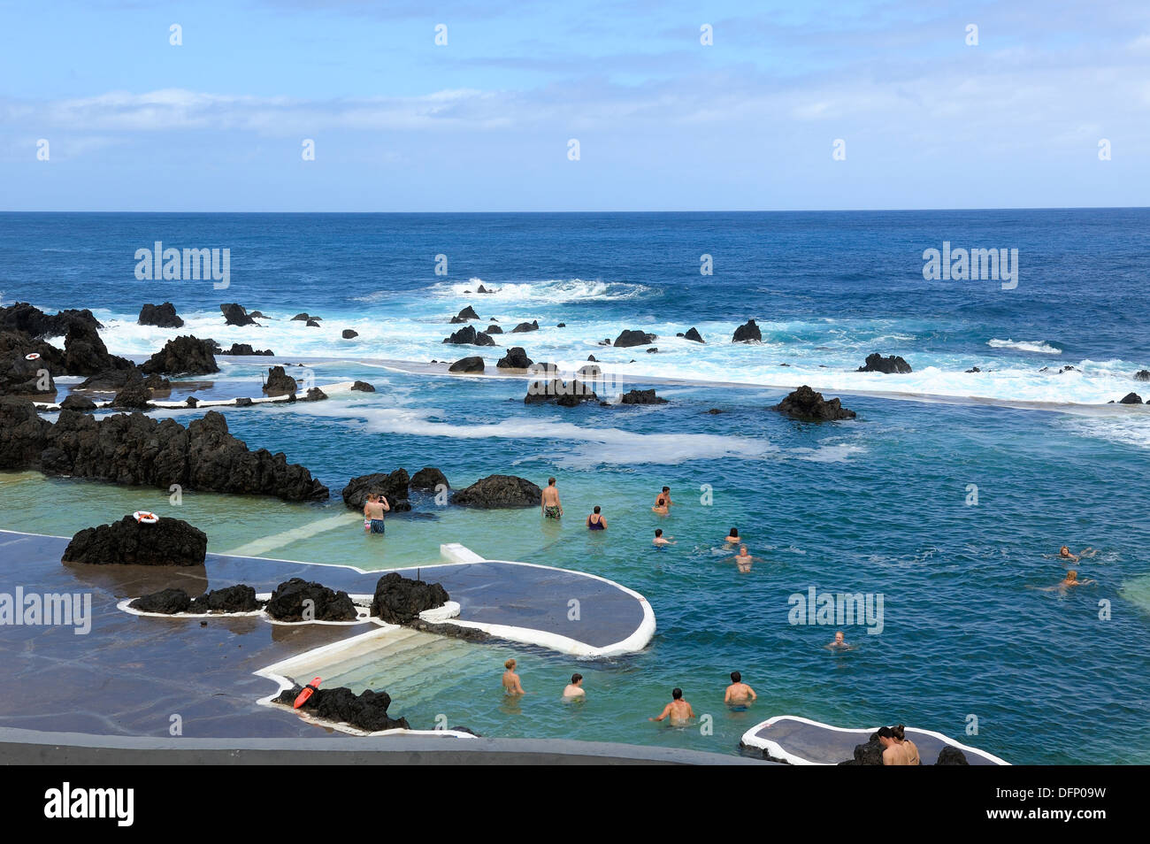 Madeira Portugal Tourists Swimming And Bathing In The Lava Rock Stock Photo Royalty Free Image