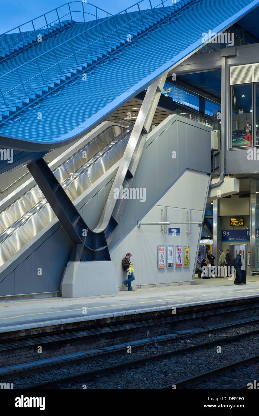Reading Train Station Reading United Kingdom. Architect Grimshaw 2015. Detailed platform elevation with sloping canopy. & Reading Train Station Reading United Kingdom. Architect ...