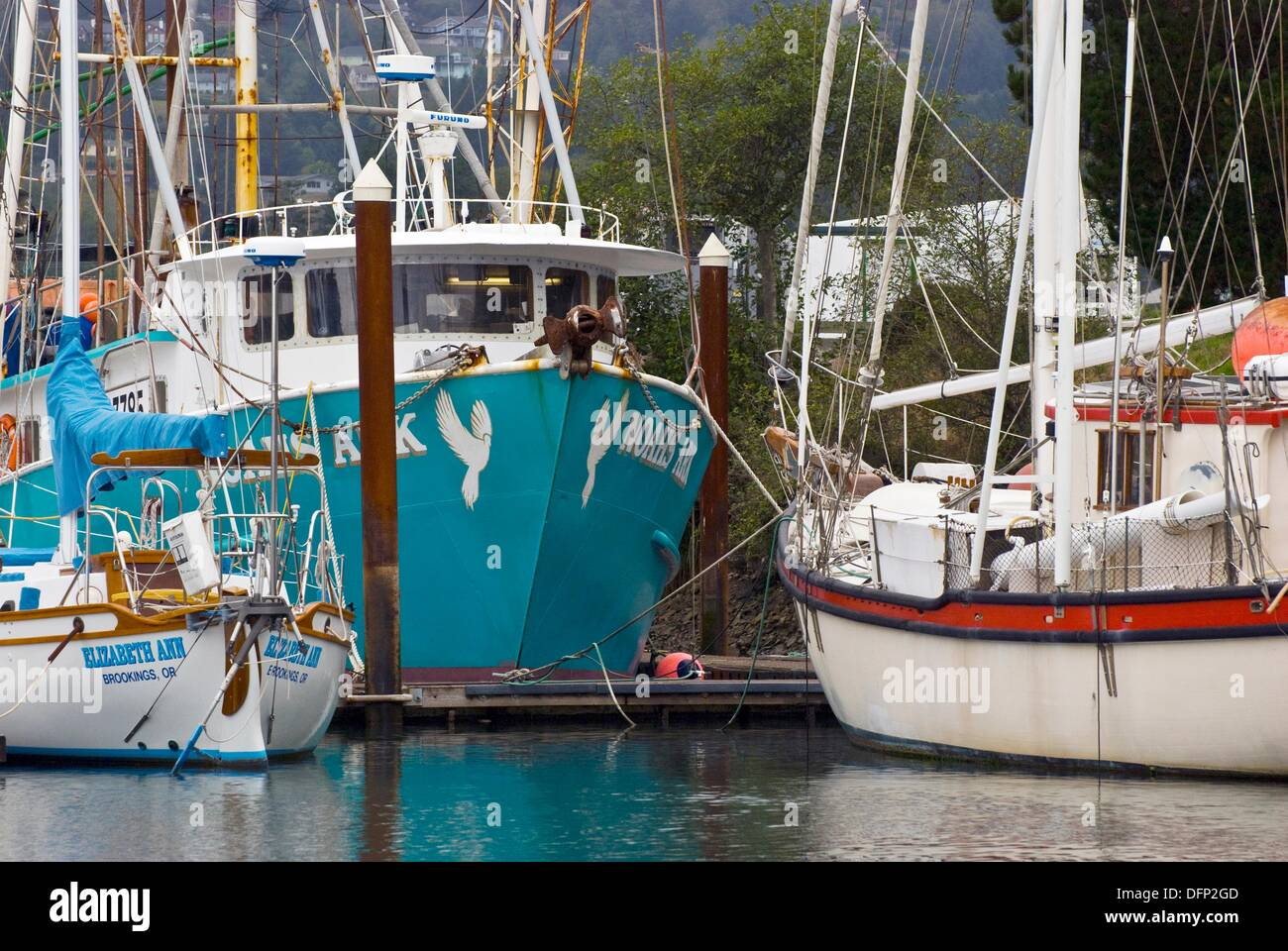Commercial fishing boat harbor brookings oregon stock for Fishing brookings oregon