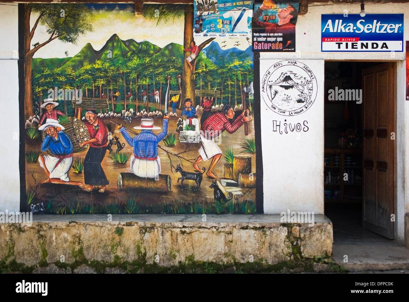 Mural Painting On The Outside Wall Of A House And Store In San Juan La  Laguna, Sololá, Guatemala Pictures