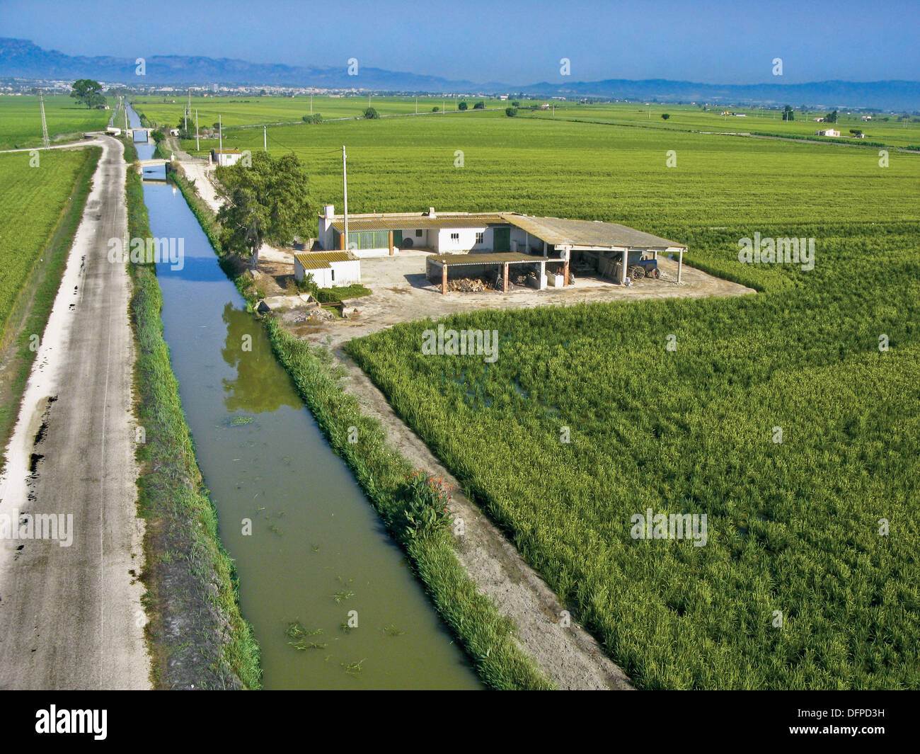 Agricultural Irrigation Canal : Aerial view of rice fields in ebro delta and irrigation