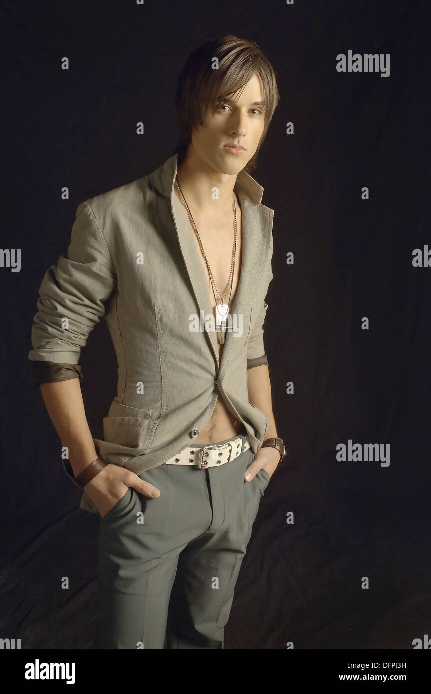 Young Man In Suit Jacket And No Shirt Stock Photo Royalty Free