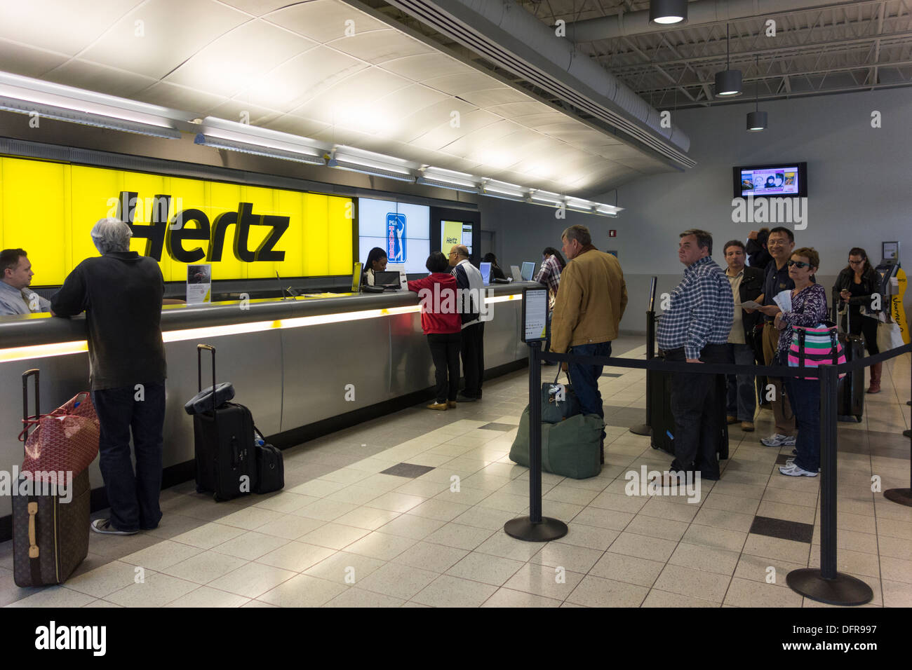 hertz car hire counter jfk airport new york usa stock. Black Bedroom Furniture Sets. Home Design Ideas