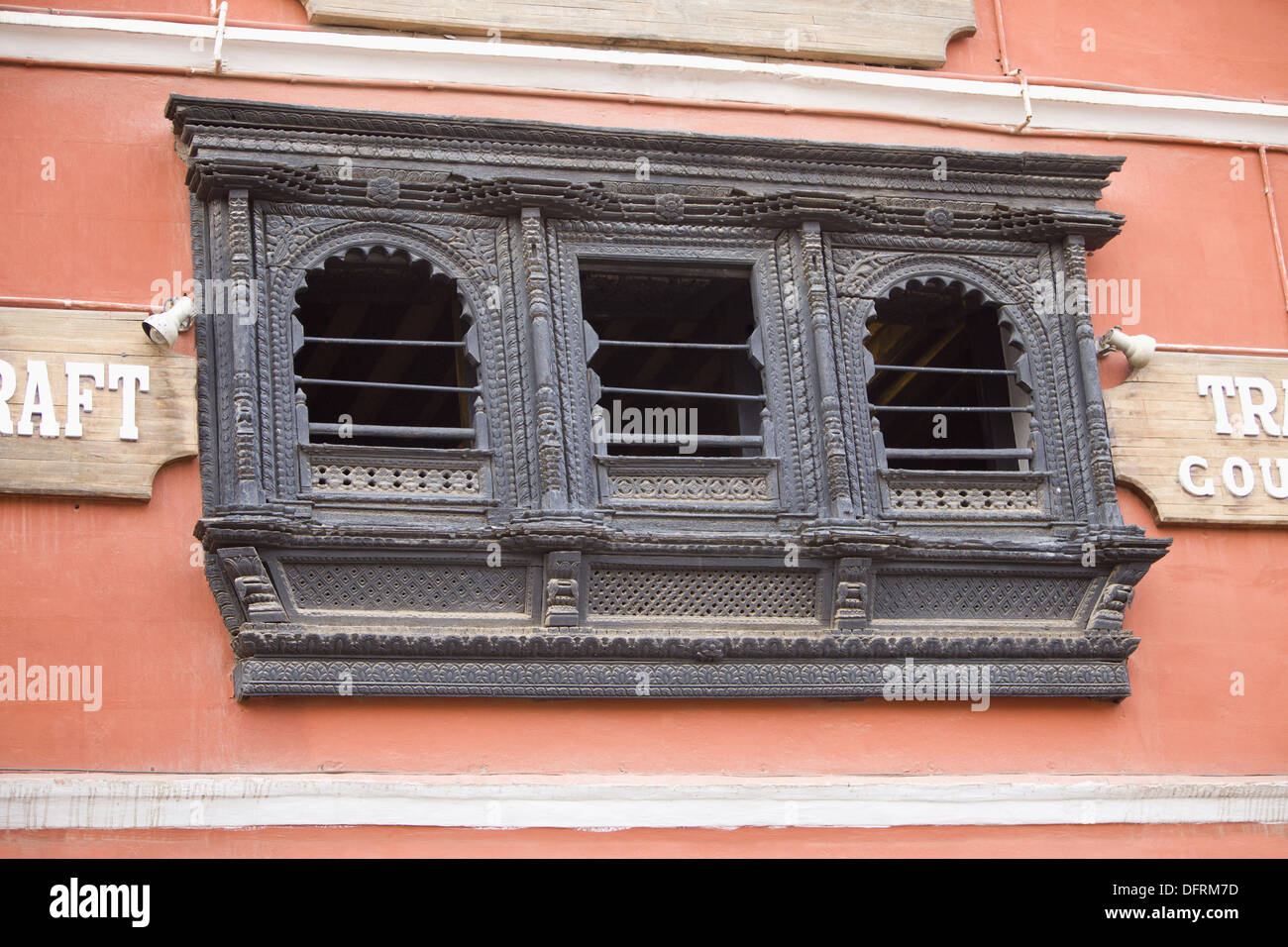 Old wooden carved window of one of the house in nepal for Window design in nepal
