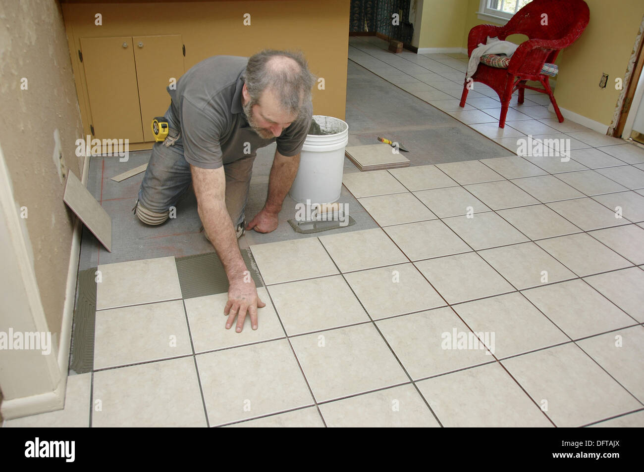 Putting in tile floor