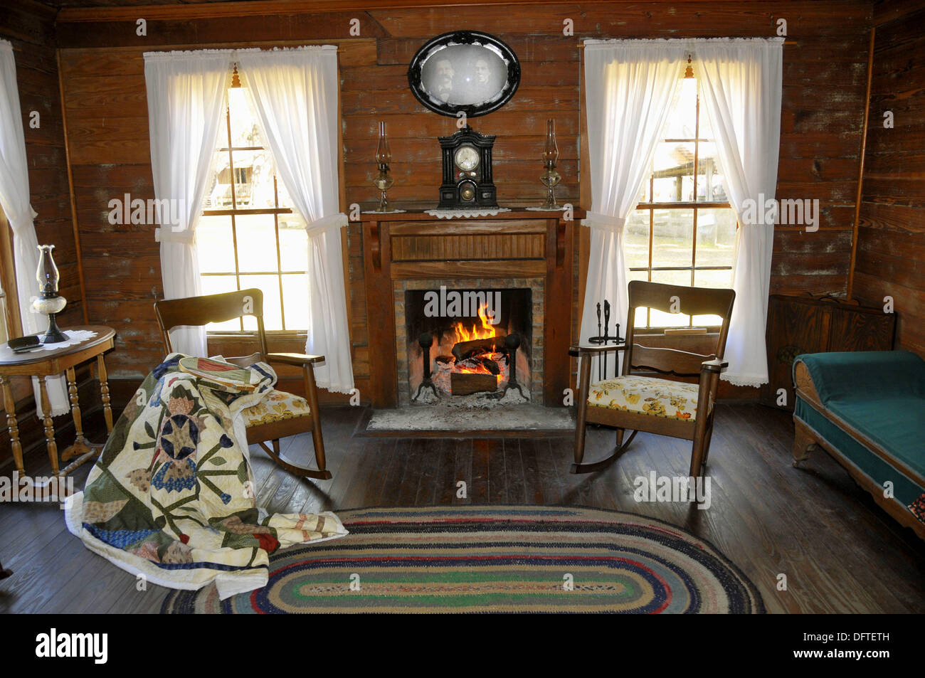 Living Room With Fireplace In Carlton House Circa 1885 From Wauchula Florida At Cracker Country History Museum