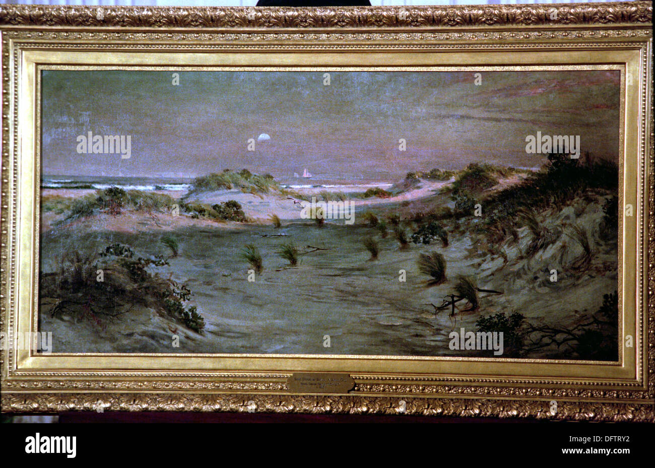 Painting sand dunes at sunset in atlantic city 1885 by stock painting sand dunes at sunset in atlantic city 1885 by african american artist henry ossawa tanner at the white house october 29 1996 in washington sciox Image collections