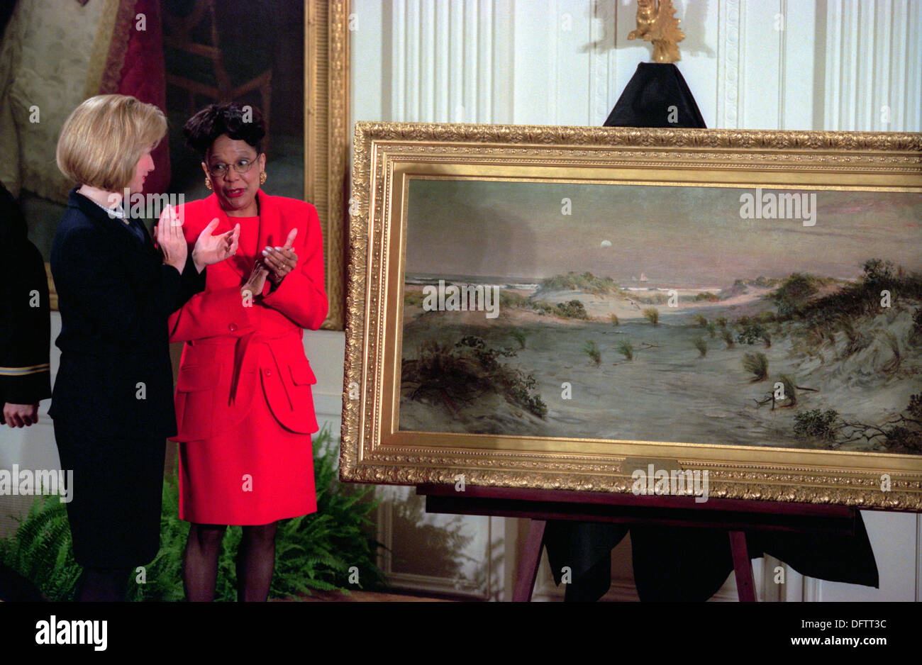 Us first lady hillary clinton and dr rae alexander minter during us first lady hillary clinton and dr rae alexander minter during the unveiling of the painting sand dunes at sunset in atlantic city 1885 sciox Image collections
