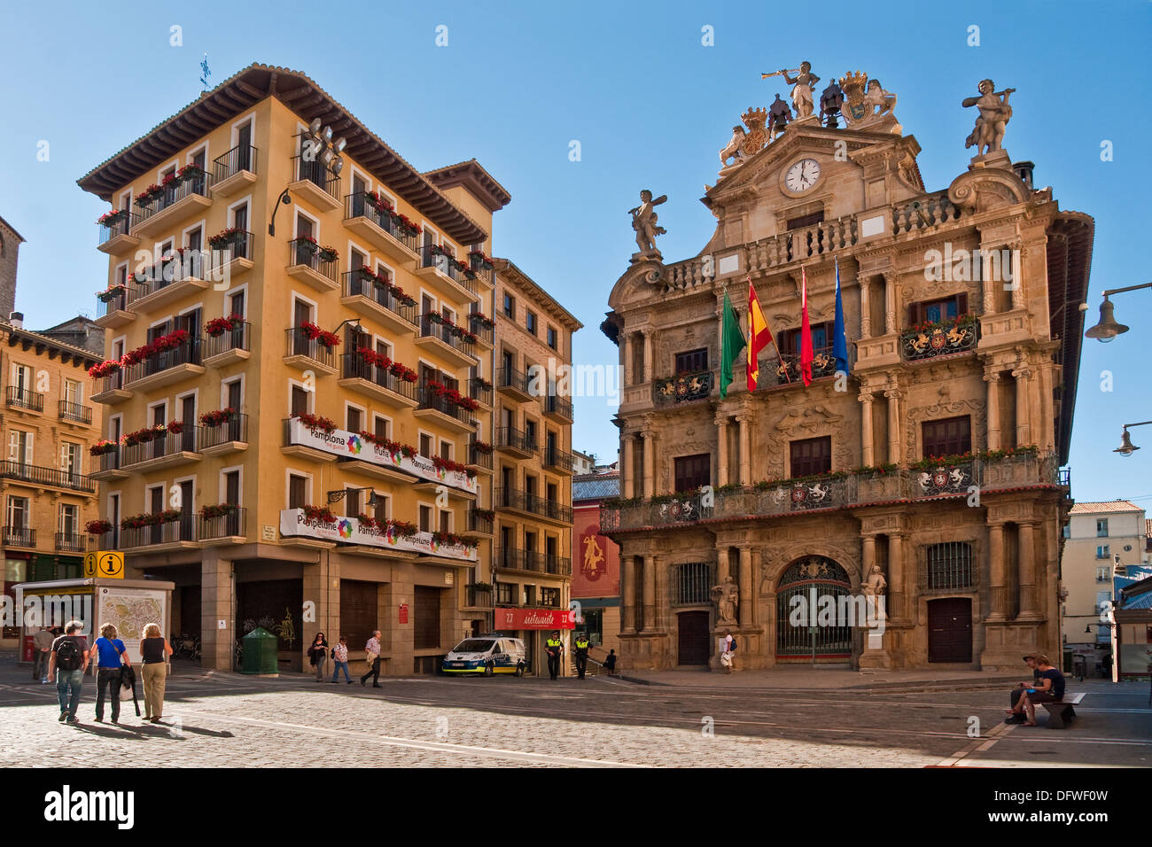 City Hall And Modern Apartment Building In The Plaza Consistorial Pamplona