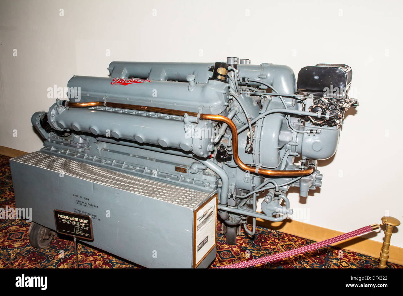 a packard 12 cylinder marine engine of the type used in pt boats in stock photo royalty free