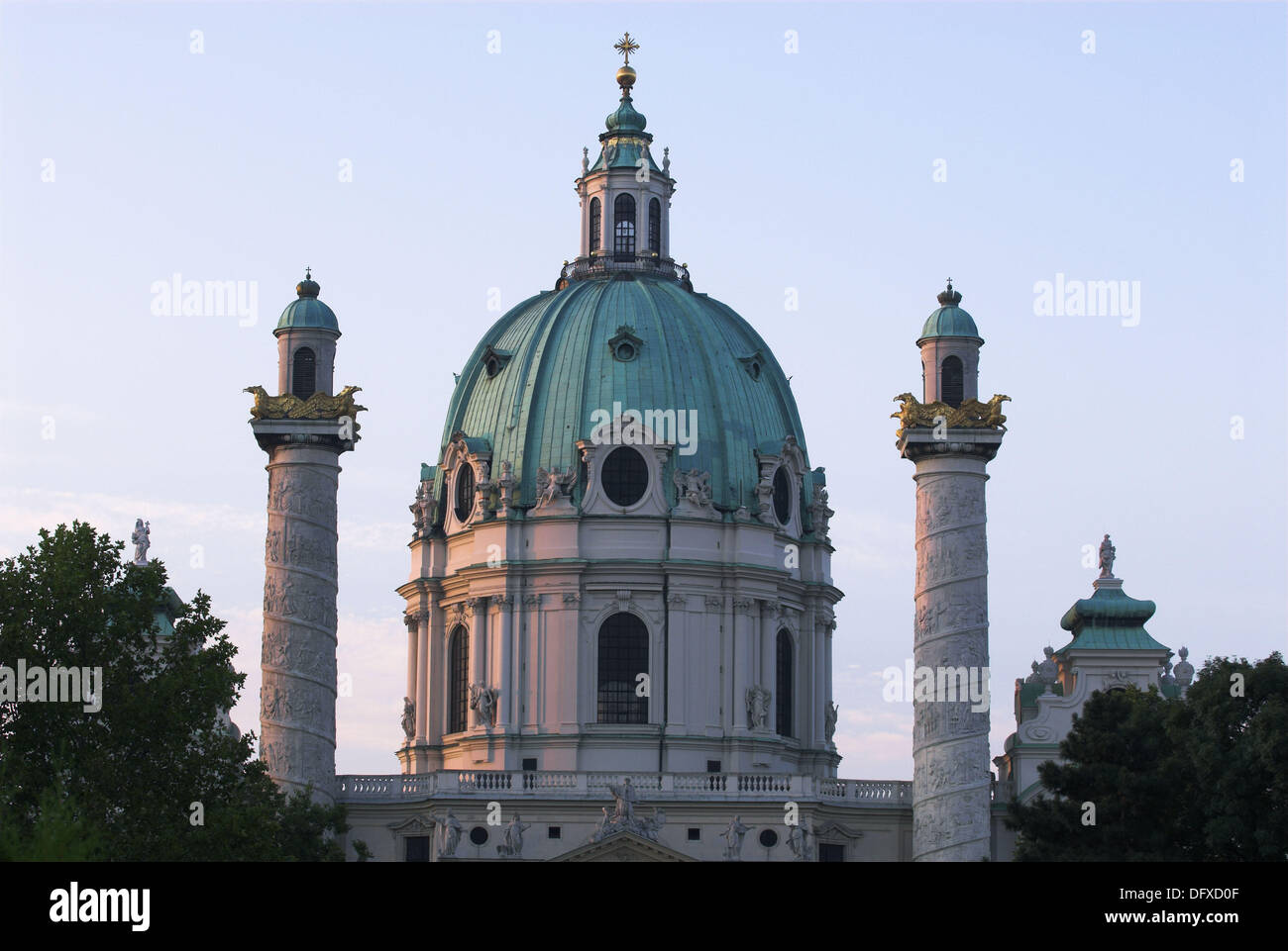 Karlskirche charles church dome cupola columns with for Churches of baroque period