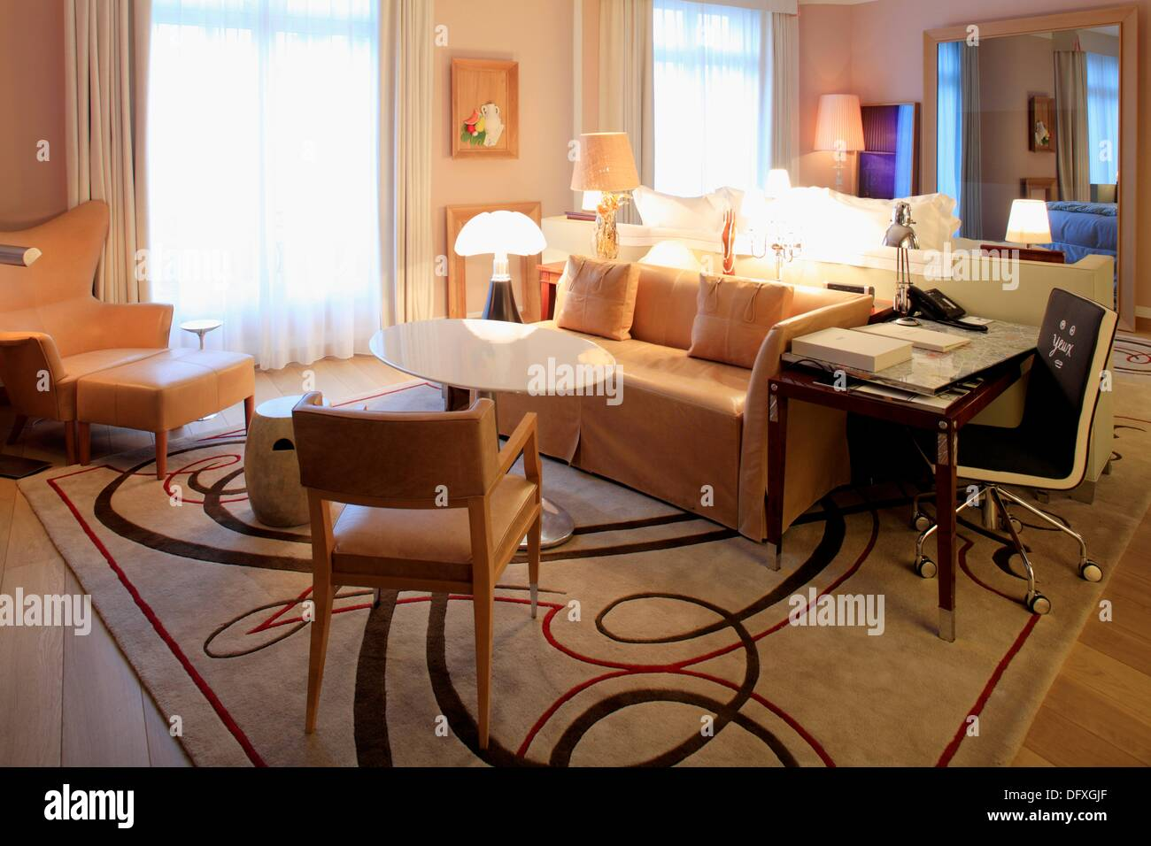 deluxe collection rooms designed by philippe starck in hotel le royal stock photo royalty free. Black Bedroom Furniture Sets. Home Design Ideas