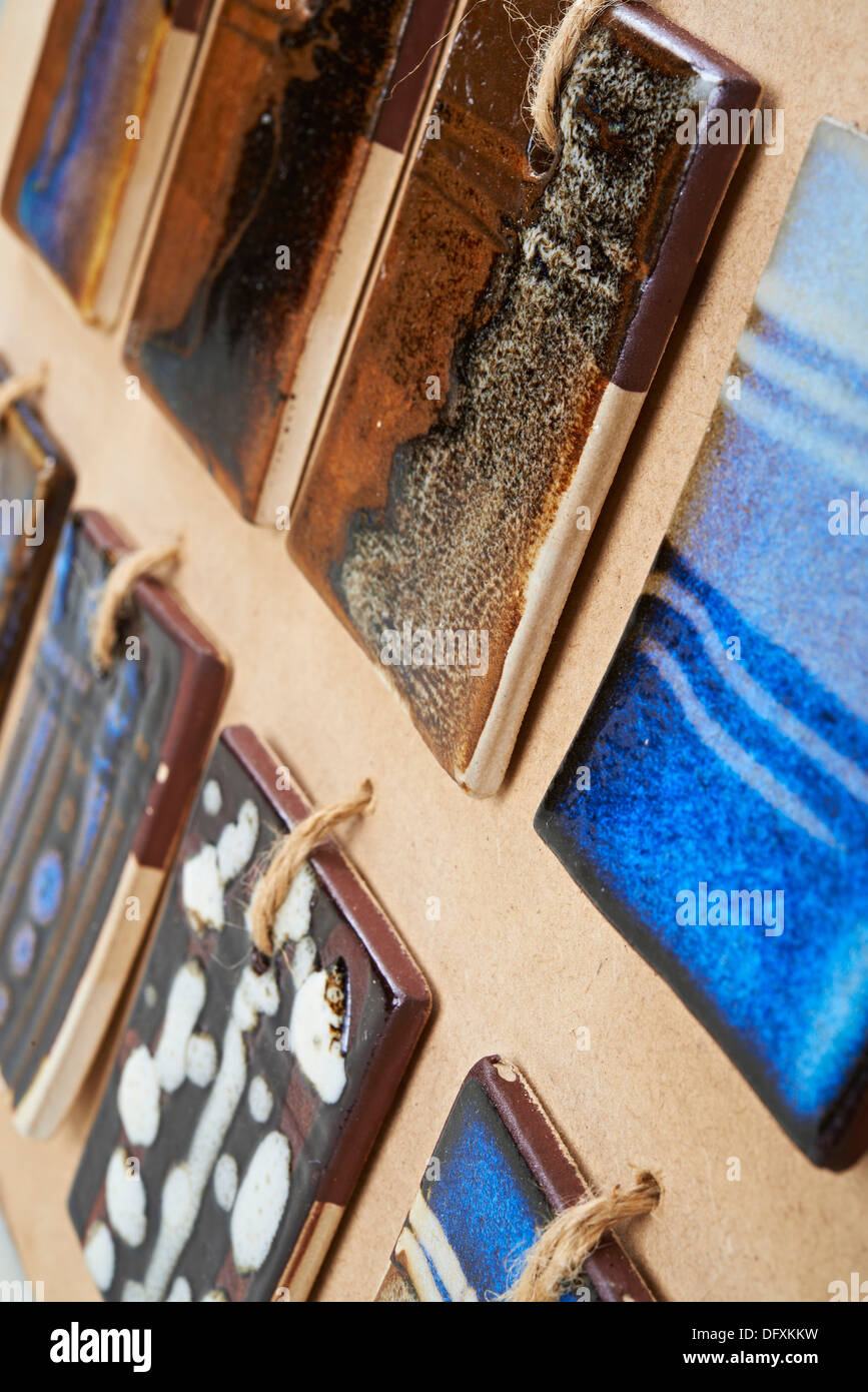 Display of coloured tiles, colored tiles, on display board Stock ...